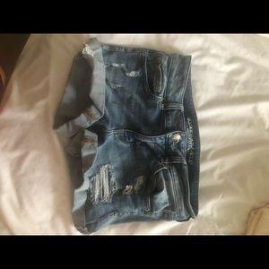 American eagle cuffed medium wash jean shorts